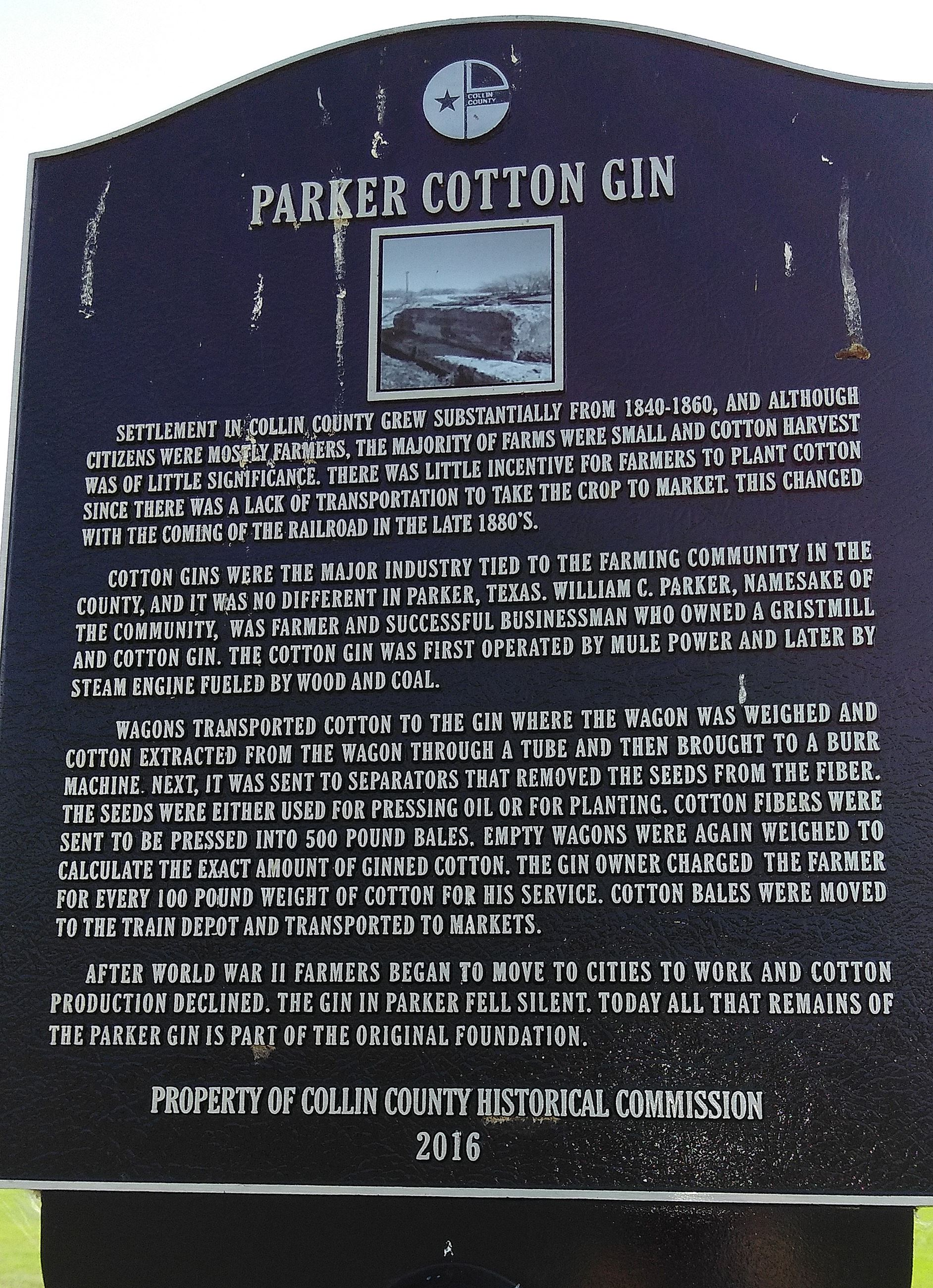 Parker Cotton Gin Marker