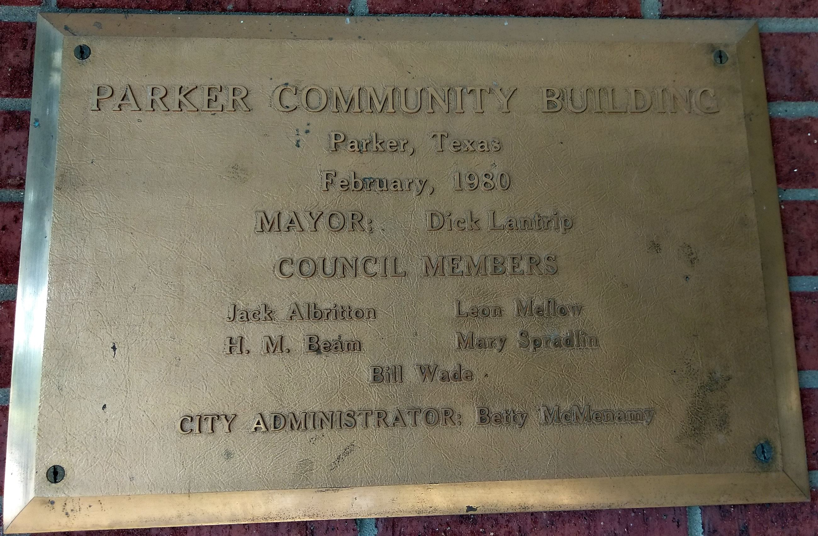 1980 Community Building Marker